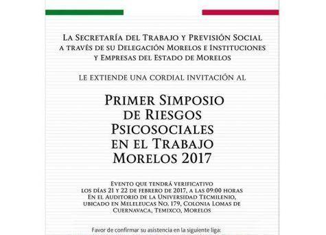 No olvides asistir al primer Simposio de Riesgos Psicosociales en Morelos.