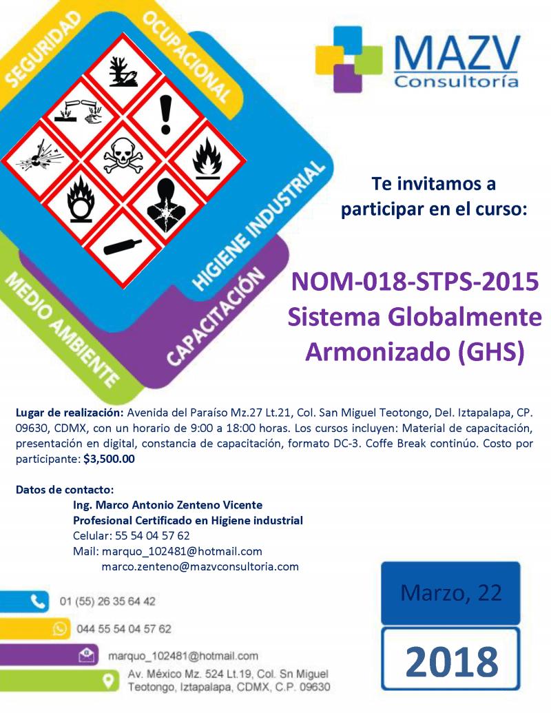 Precio especial para curso sobre la NOM-018-STPS-2015