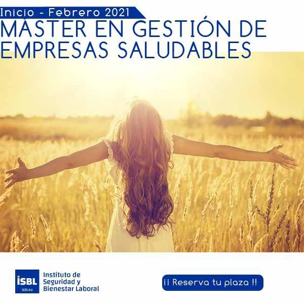 Máster en Gestión de Empresas Saludables - Edición 2021 - matriculas abiertas
