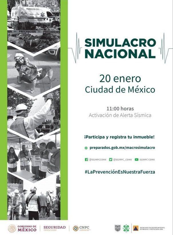 Habrá simulacro nacional por sismo este 20 de enero