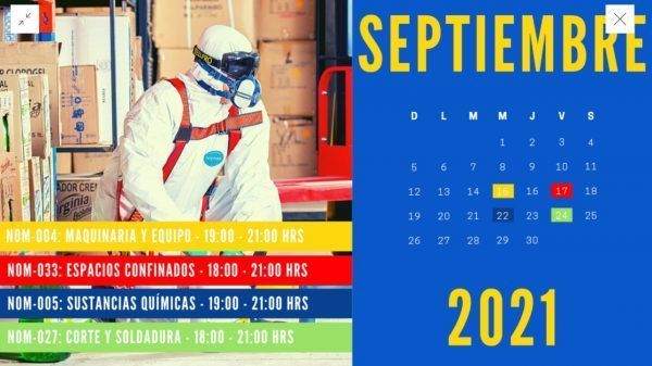 Calendario de Cursos de Seguridad: Septiembre 2021