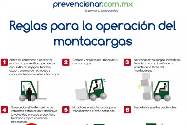 Descarga en PDF: Cartel con Reglas de operación del montacargas