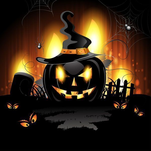 14958031 - halloween background with cemetery and pumpkin