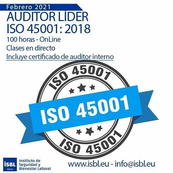 Curso Auditor Líder ISO 45001 - Edición Febrero 2021 (reserva tu plaza)